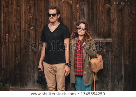 Stockfoto: Handsome Man Wearing Checkered Shirt In Wooden Rural House Interior