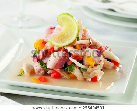 seafood salad with prawns, peppers and onions Stock photo © godfer
