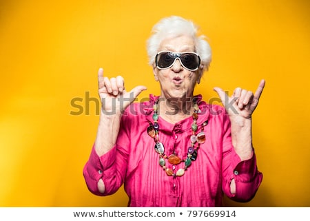Gelukkig oude vrouw portret glimlachend geïsoleerd Stockfoto © iko