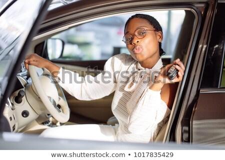 Mosolyog vásárló mutat új kulcs új autó Stock fotó © wavebreak_media