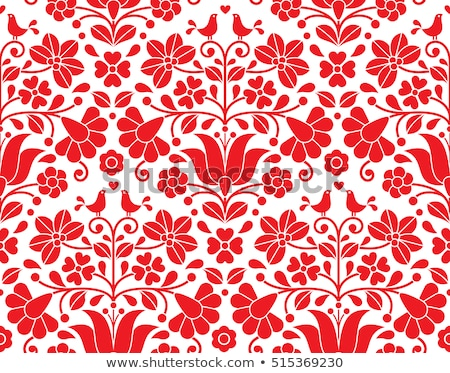 Hungarian red floral folk pattern - Kalocsai embroidery with flowers and paprika  Stock photo © RedKoala