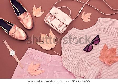 Lány divatos ruházat vonzó lány fekete mosoly Stock fotó © artfotoss