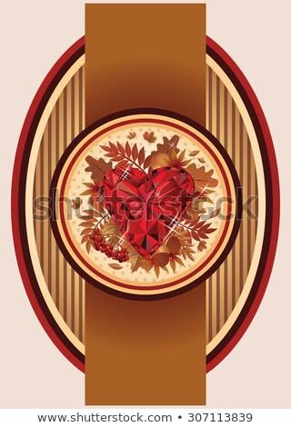 Vintage najaar banner robijn hart liefde Stockfoto © carodi