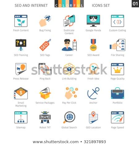 Seo színes ikon gyűjtemény internet fejlesztés üzlet Stock fotó © Genestro