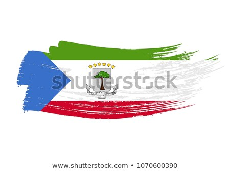 Flag of Equatorial Guinea painted with brush Stock photo © tang90246