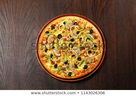 キノコ オリーブ ピザ 自家製 トマト サラミ ストックフォト © zhekos