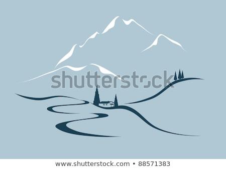 Montana valle cabaña invierno paisaje Ucrania Foto stock © Kotenko