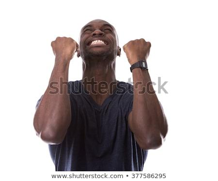 Yakışıklı siyah adam heyecan genç heyecanlı gündelik Stok fotoğraf © zdenkam