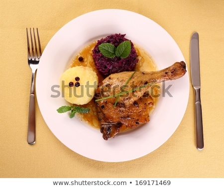roast duck with potato dumplings and sauerkraut stock photo © digifoodstock