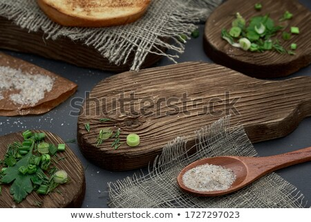Coarse salt in a large old spoon Stock photo © nessokv