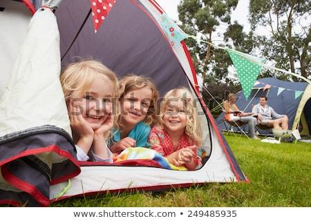 giovani · padre · bambini · tenda · famiglia · cane - foto d'archivio © adrenalina