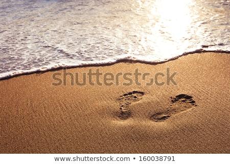 Distant man walking on beach at sunset Stock photo © Komar