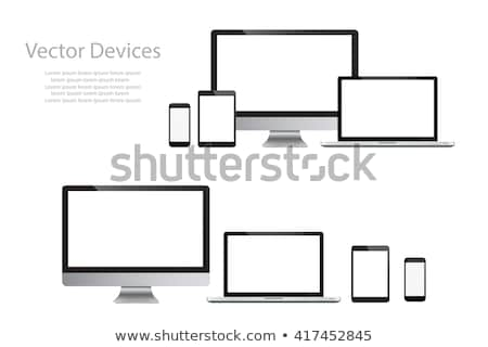 vector realistic laptop desktop computer mobile tablet smartwatch templates stock photo © tele52