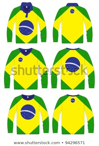 Man witte shirt Brazilië vlag Stockfoto © stevanovicigor