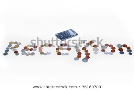 Stockfoto: Veel · munten · crisis · woord · geïsoleerd · papier