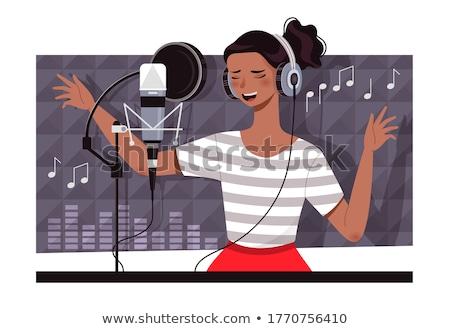 Cantante canción Asia hombre auriculares cantando Foto stock © RAStudio
