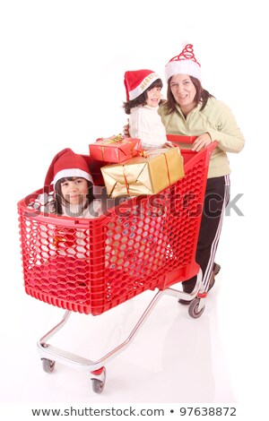 mikulás · bevásárlókocsi · fehér · férfi · vásárlás · jókedv - stock fotó © elnur