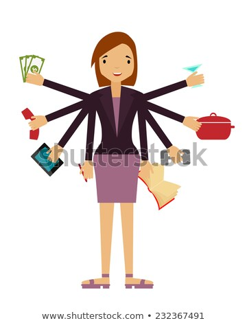 Beautiful business woman doing several things at once at the hom Stock photo © vlad_star
