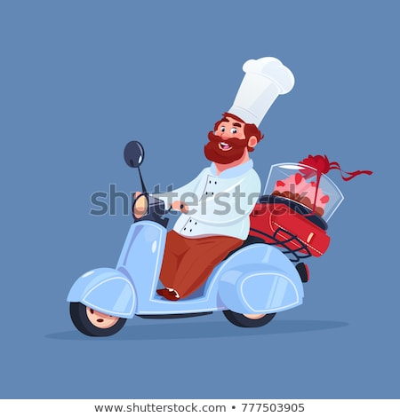 Cartoon Chef on Moped Scooter  Stock photo © Krisdog
