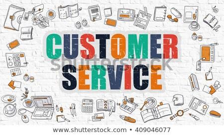 Multicolor Customer Service on White Brickwall. Doodle Style. Stock photo © tashatuvango