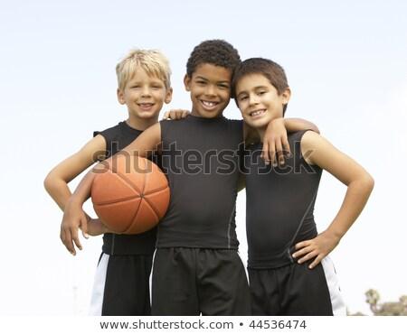 баскетбол · изображение · молодым · человеком · сын · играет - Сток-фото © is2