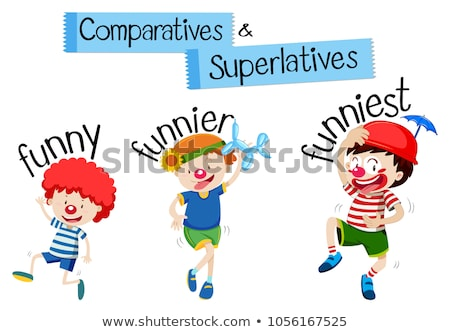 Stock photo: Comparatives and superlatives for word funny