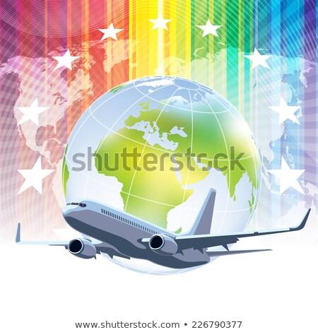 Repülőgép csillagok szárnyak repülés Föld illusztráció Stock fotó © bluering