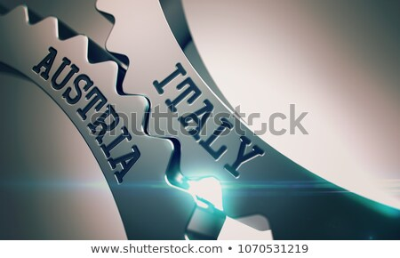 Italy Austria - Mechanism of Metallic Gears. 3D. Stock photo © tashatuvango