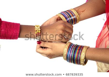 Frère soeur décoré indian festival fille Photo stock © stockshoppe