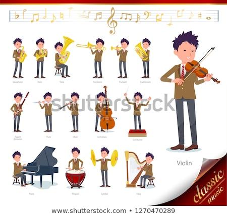 男子生徒 ブラウン 音楽 セット クラシック音楽 再生 ストックフォト © toyotoyo