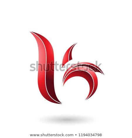 Red Striped Leaf Shaped Letter B or K Vector Illustration Stock photo © cidepix