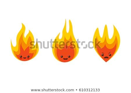 Cartoon llama sonriendo ilustración fuego feliz Foto stock © cthoman