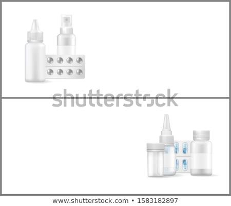 Gyógyszer gyógyszertár háló plakátok kapszulák orvosi Stock fotó © robuart