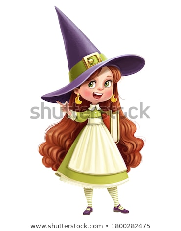 Girl Witch Story Telling Book Illustration Stock photo © lenm