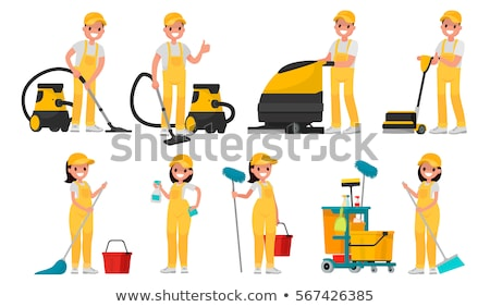 Working Janitor Mopping the Floor Illustration Stock photo © artisticco