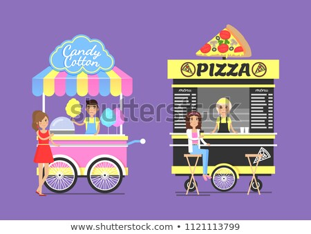 Cotton Candy and Tasty Pizza From Street Carts Set Stock photo © robuart