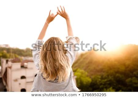 Esbelto loiro mulher posando branco Foto stock © acidgrey