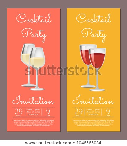 Wine Glasses Cocktail Time Set of Web Posters Stock photo © robuart