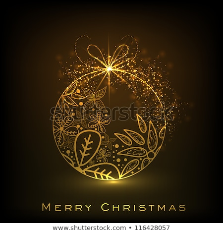 merry christmas golden balls on shiny brown background Stock photo © SArts