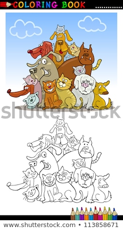 purebred dogs group coloring book stock photo © izakowski