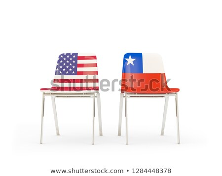 Two chairs with flags of US and chile isolated on white Stock photo © MikhailMishchenko