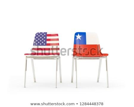 Kettő székek zászlók Chile izolált fehér Stock fotó © MikhailMishchenko