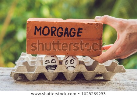 Family couple in the form of two eggs have a problem with a mortgage Stock photo © galitskaya
