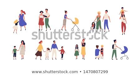 Emberek sétál együtt babakocsi család vektor Stock fotó © robuart