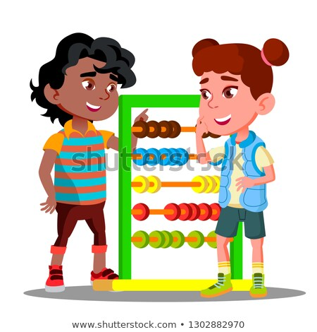 Boy Teaches To Count On Accounts Little Girl Vector. Isolated Illustration Stock photo © pikepicture