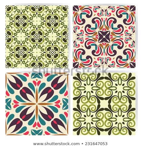 lisbon geometric azulejo tile vector pattern portuguese or spanish retro old tiles mosaic mediterr stock photo © redkoala