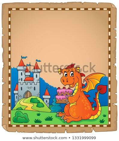 dragón · castillo · pergamino · papel · fuego · edificio - foto stock © clairev