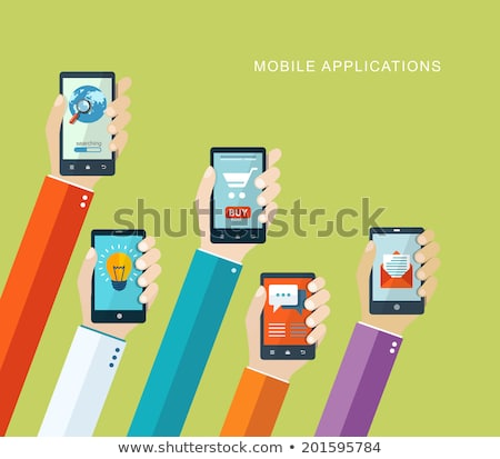 online chat application hand phone flat icon vector Stock photo © vector1st