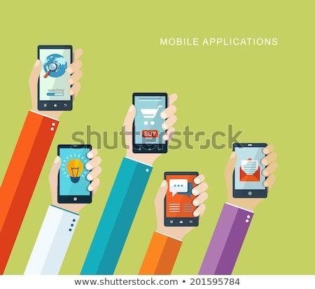 online · chat · applicazione · mano · telefono · icona - foto d'archivio © vector1st