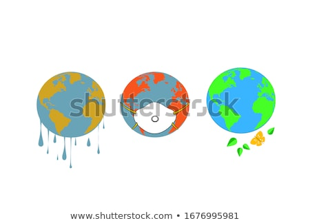 Earth globe. World map set. Planet with continents. Vector Illustration Stock photo © olehsvetiukha